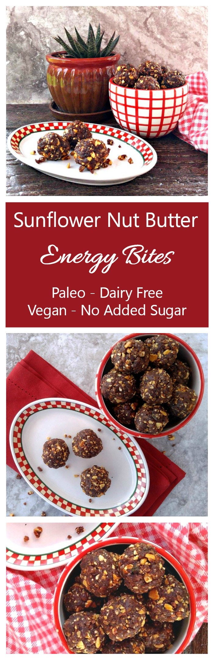 These sunflower nut butter energy bites have a rich chocolate and peanuty taste but have no added sugar.
