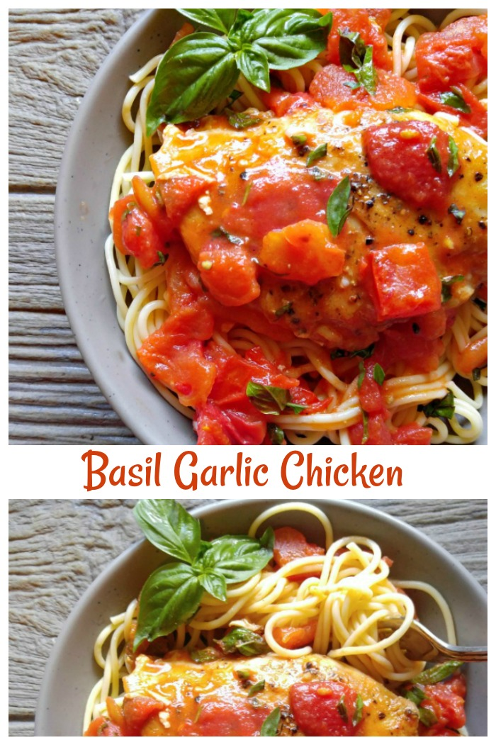 This basil garlic chicken in a buttery tomato sauce is easy and so, so tasty. It will become a family favorite.