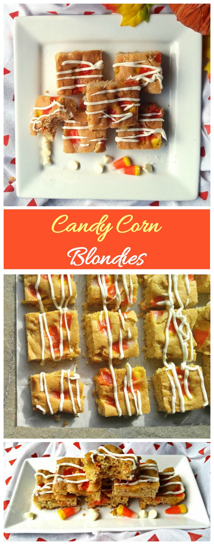 There candy corn blondies are colorful and sweet. They make the perfect Halloween party treat. #candycorn #Halloweenrecipes
