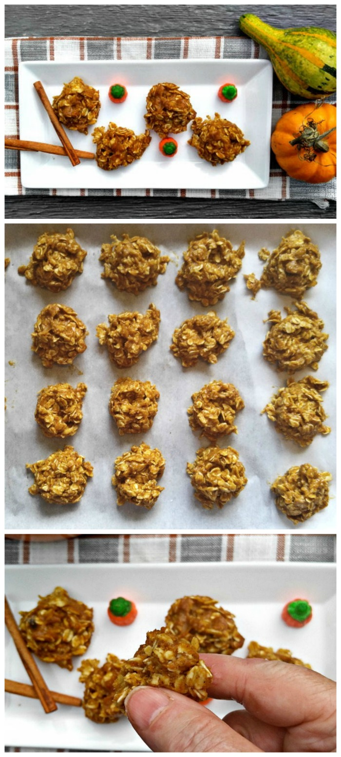 These no bake pumpkin spice cookies are super easy to make and clean eating. They are gluten free and vegan and super tasty. #pumpkinrecipes #nobakecookies