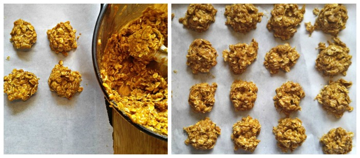 Scooping the no bake pumpkin cookies