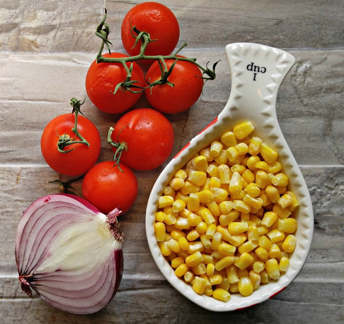 Corn, campari tomatoes and vidalia onions