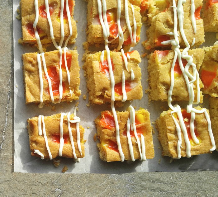 Candy Corn Blondies - Fall Sweet Treat with Candy Corn