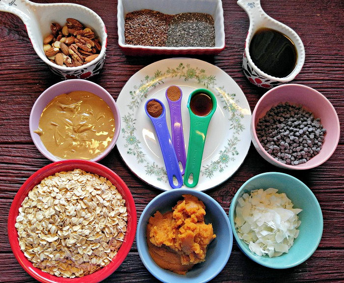 ingredients for the pumpkin nut butter energy bites