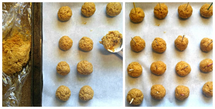 Making the pumpkin truffle balls