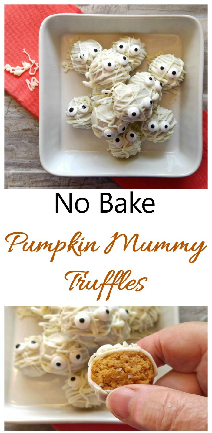 These no bake pumpkin mummy truffles are the perfect sweet treat for Halloween.