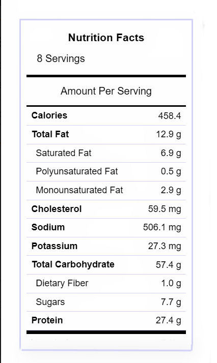 Nutritional label for BBQ Ranch Chicken Casserole