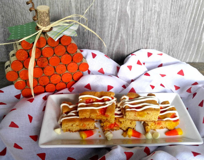 candy corn blondies on a serving plate