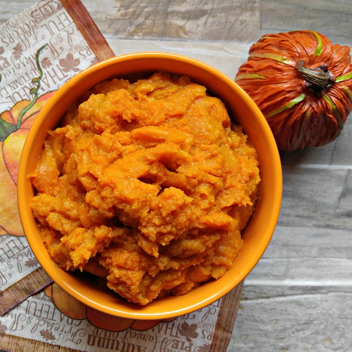 Fresh pumpkin puree in a recipe for pumpkin dip