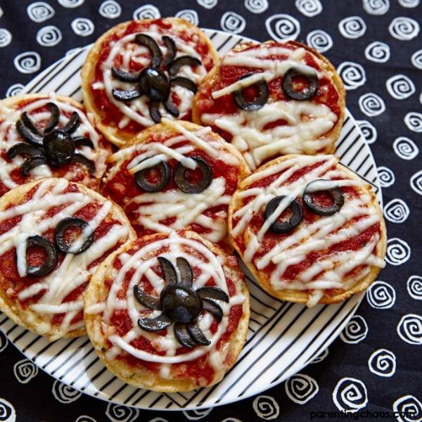 Fun Halloween pizzas from parentingchaos.com