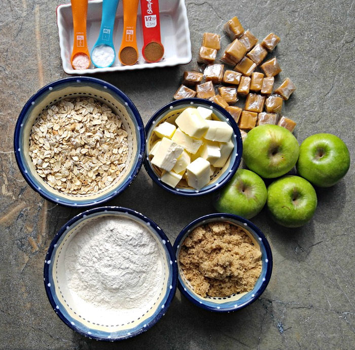 Ingredients for caramel apple bars