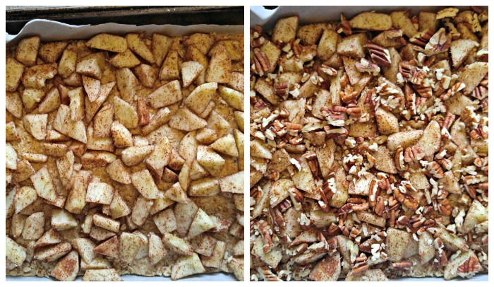 Layer on the diced apples and pecans