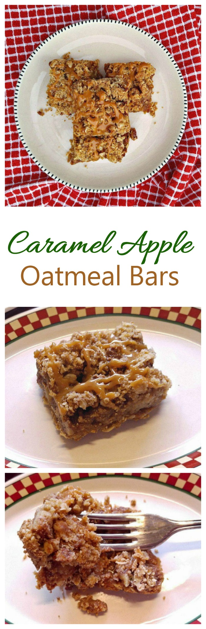 These caramel apple bars have a spiced apple center and crunchy sugar topping. #caramelapple #oatmeal bars