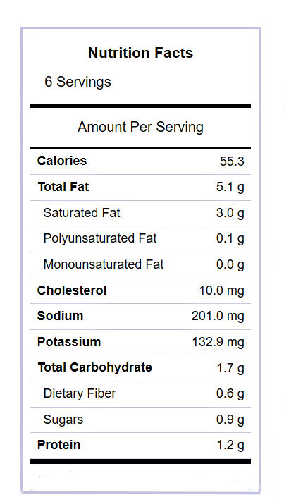 Roasted carrots nutritional label