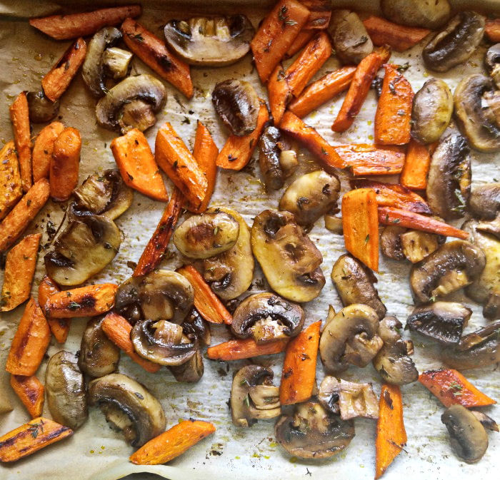 Roasted carrots and mushrooms