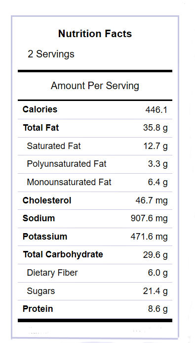Nutritional label for the carrot salad