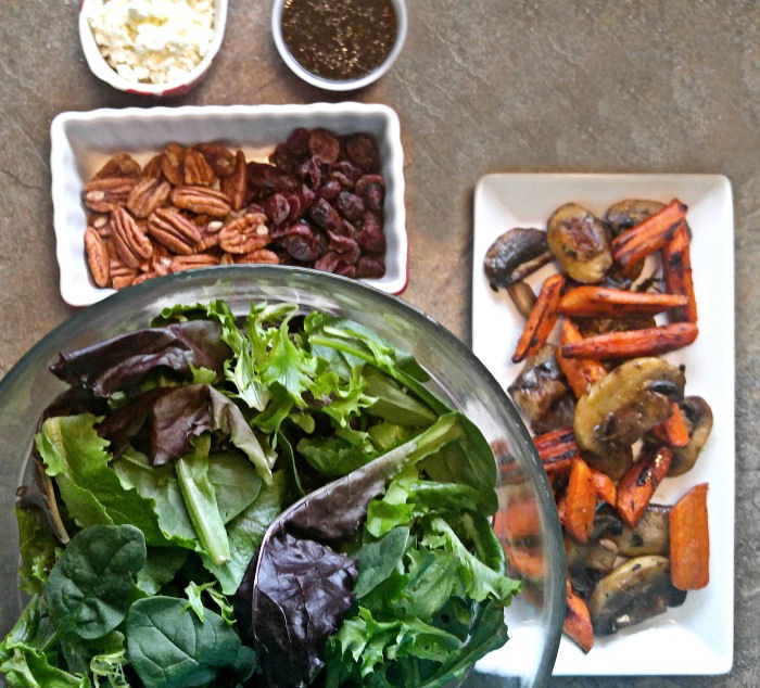 Ingredients for roasted carrot salad