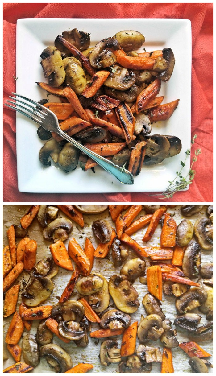 Roasted carrots and mushrooms with fresh thyme. The perfect side dish or salad topping.