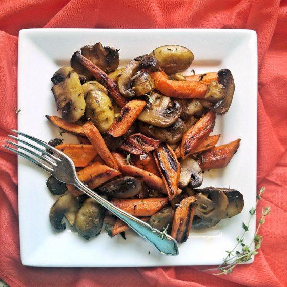Roasted carrots and mushrooms