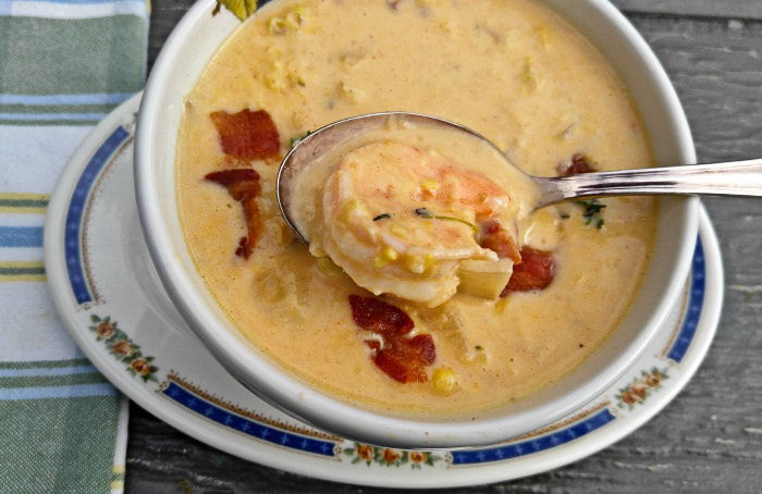 Taking a taste of this shrimp and corn chowder
