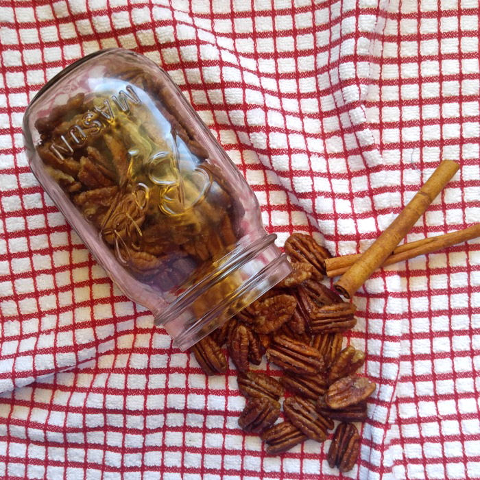Toasted pecans in a mason jar