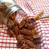 Toasted pecans with a maple sugar and cinnamon glaze.