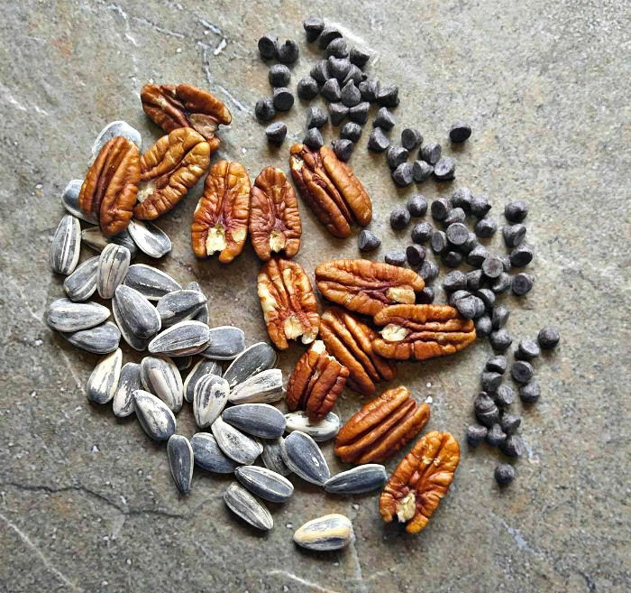Sunflower seeds, pecans and chocolate chips