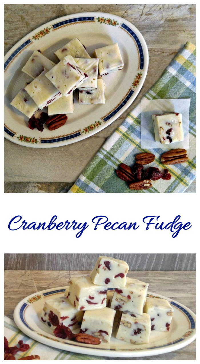 This cranberry pecan fudge is perfect for the holidays. It has a tart sweet flavor and a nice crunch. #cranberrypecanfudge #pecanfudge #cranberryfudge