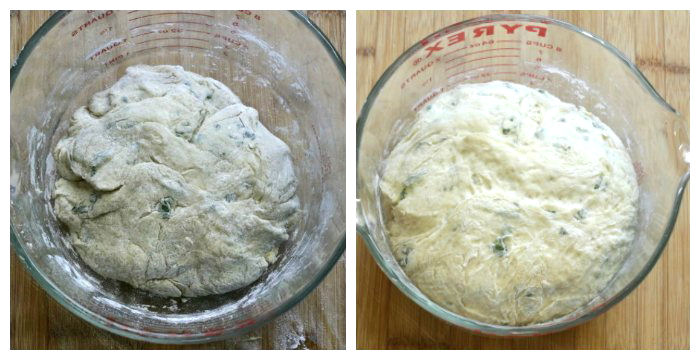 Let the bread dough rise until is it almost twice the size