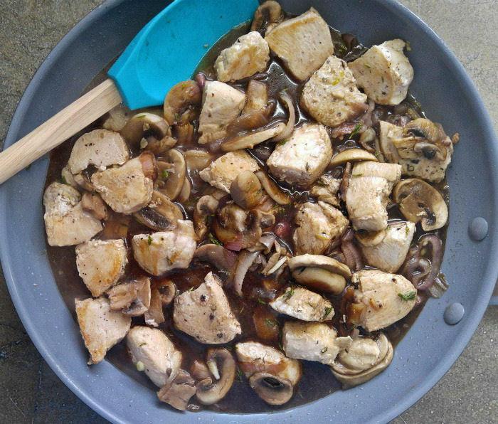 Add broth and balsamic vinegar