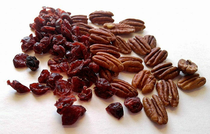 Cranberries and pecans
