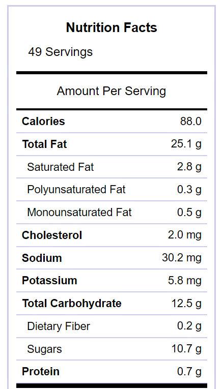 cranberry pecan fudge nutritional label