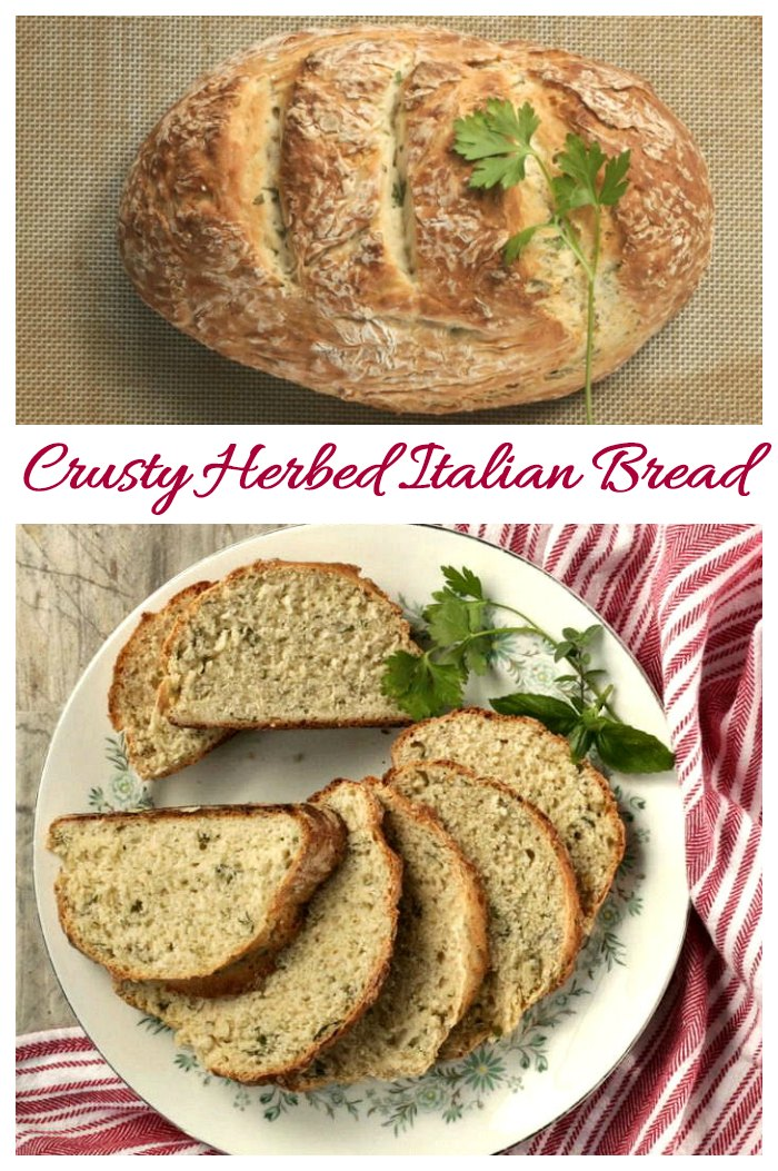 This homemade Italian bread is very easy to make and makes the perfect add on to a bowl of soup. It is full of the flavor of fresh herbs.