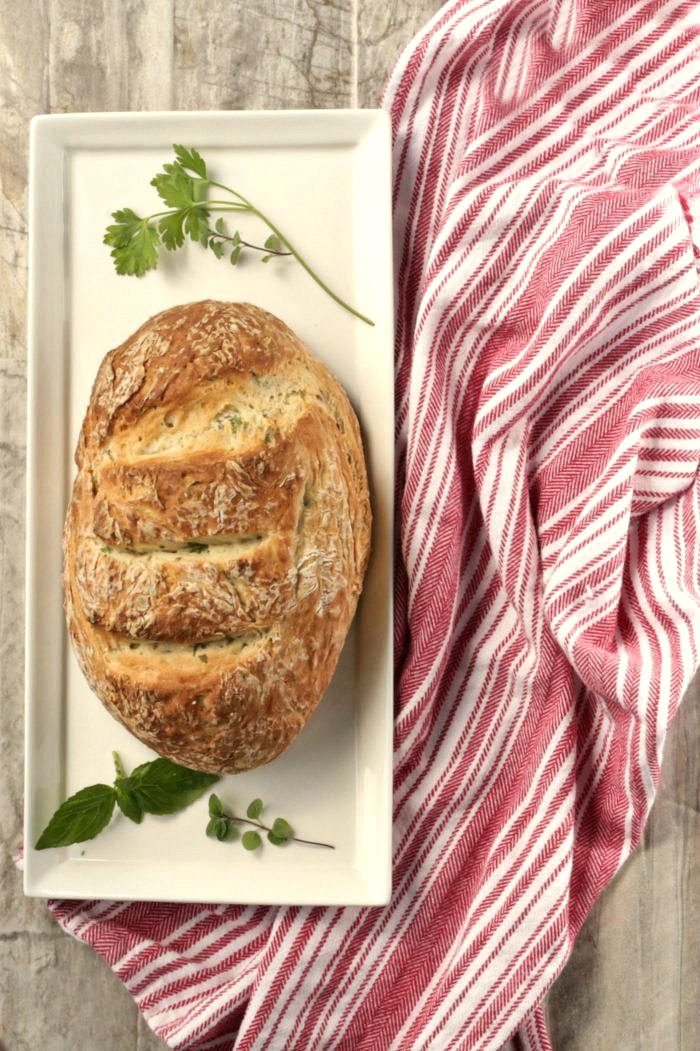 This Crusty Herbed Italian bread is very easy to make and makes the perfect add on to a bowl of soup.