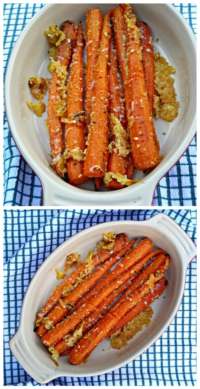 Making garlic Parmesan roasted carrots