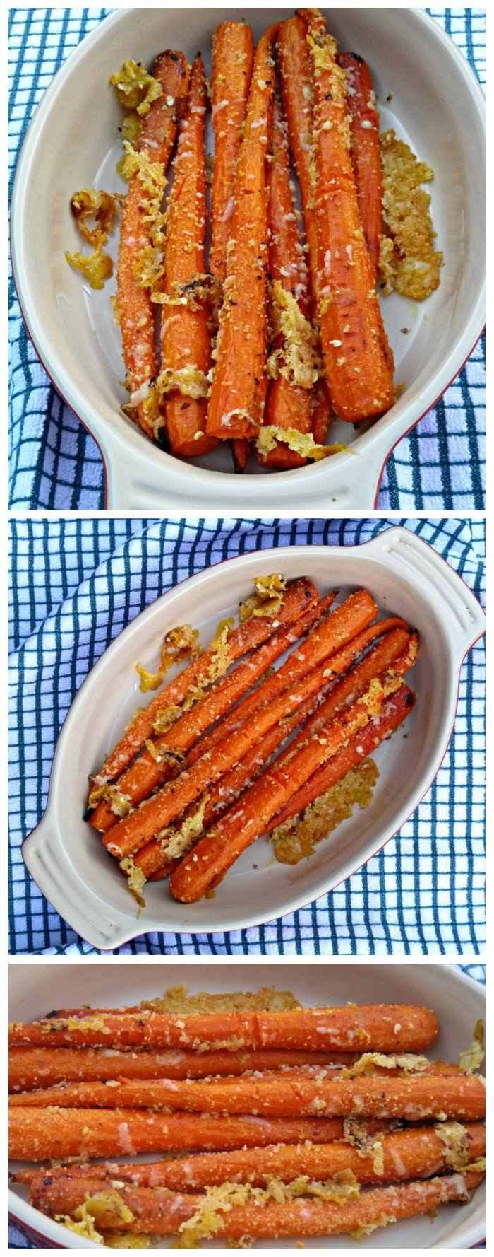 This roasted carrots recipe features a buttery garlic parmesan outside and sweet roasted center. #roastedcarrotrecipe