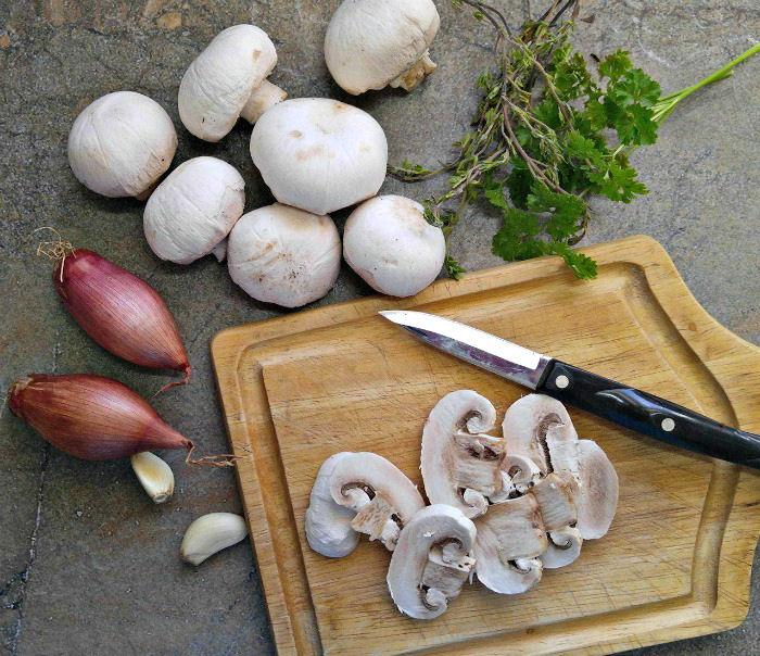 Mushrooms, shallots, garlic and herbs