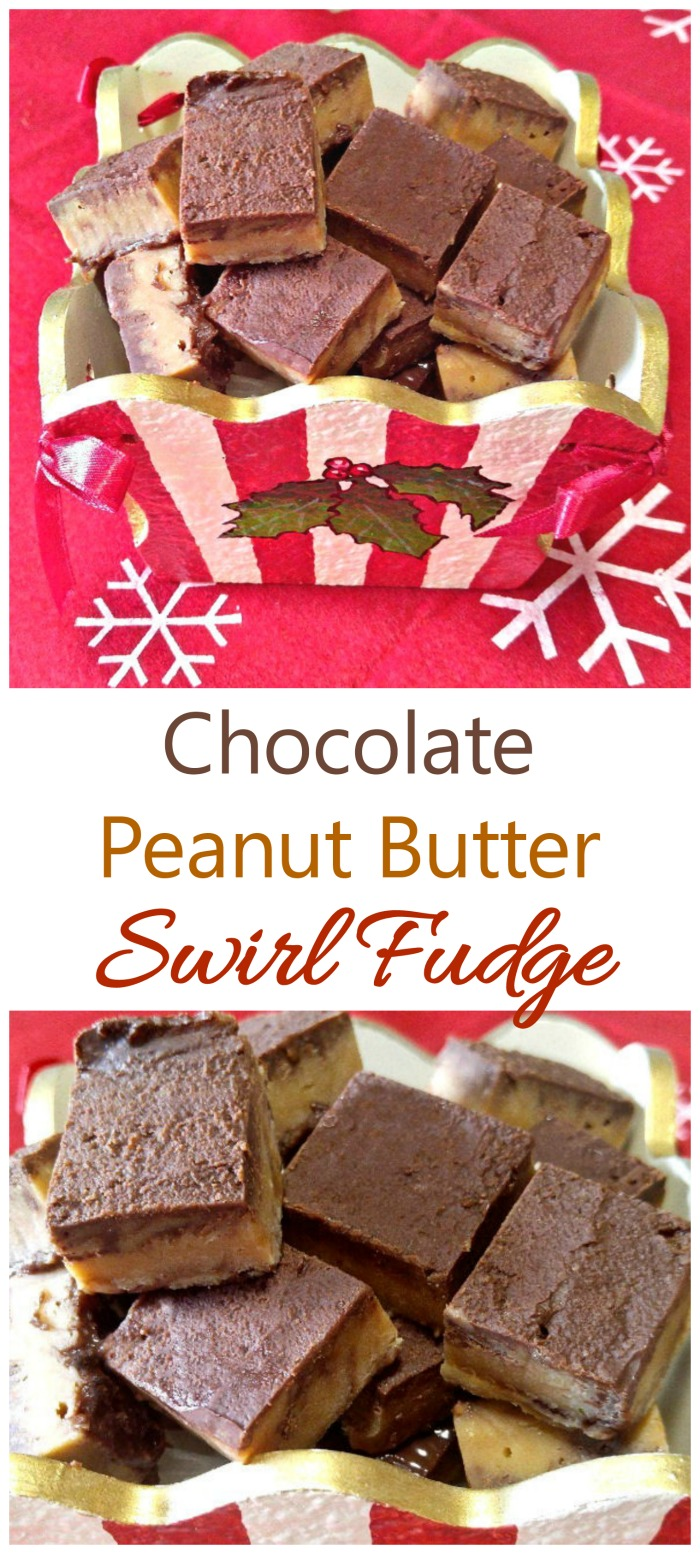 This peanut butter swirl fudge reminds me of a Reese's peanut butter cup. It's very easy to make, too. #peanutbutterswirlfudge #fudgerecipes