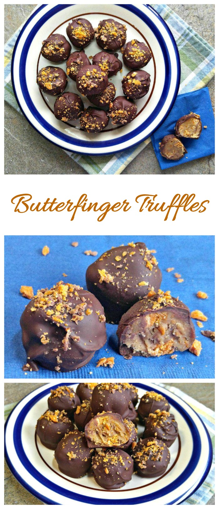 These Butterfinger truffles are creamy and crumchy