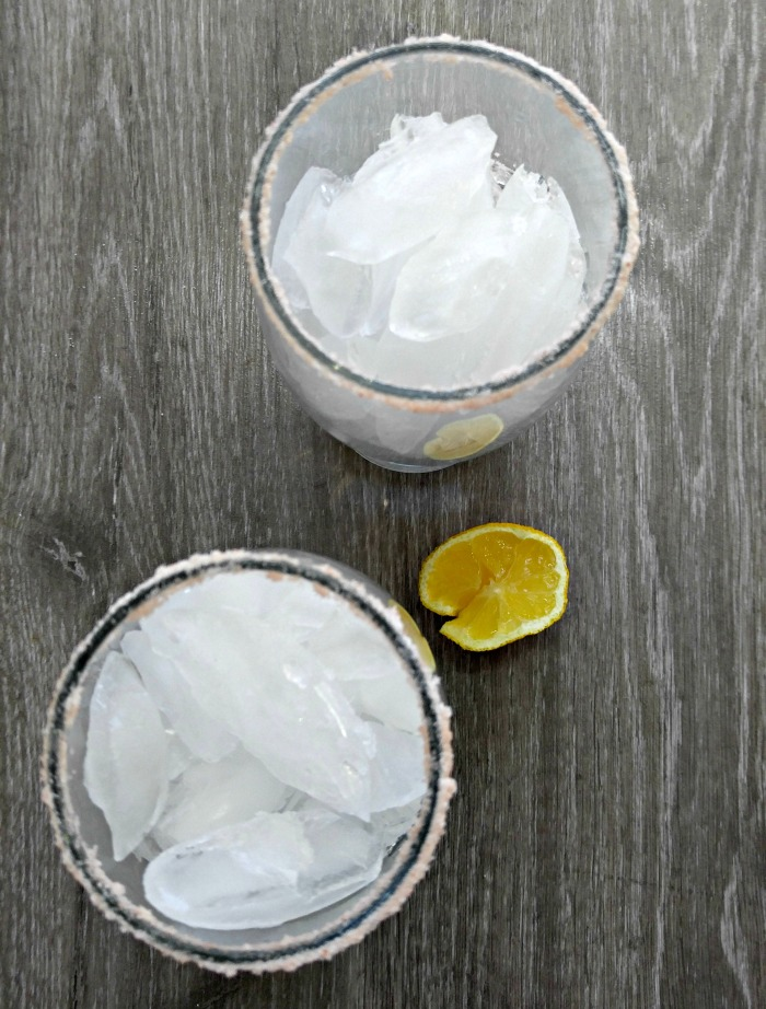ice in salted glasses