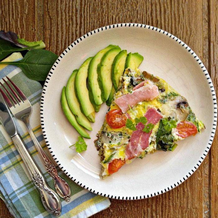 Bacon frittata with avocado slices