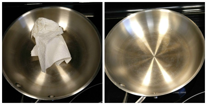 Cleaning seasoned pan with paper towl