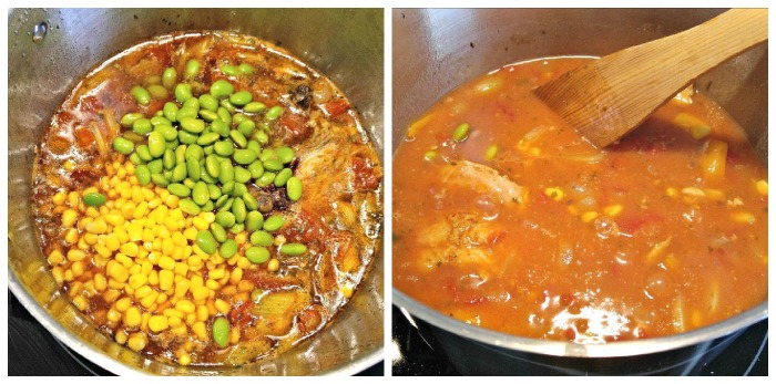 Add corn and edamame beans to the stew and thicken the broth