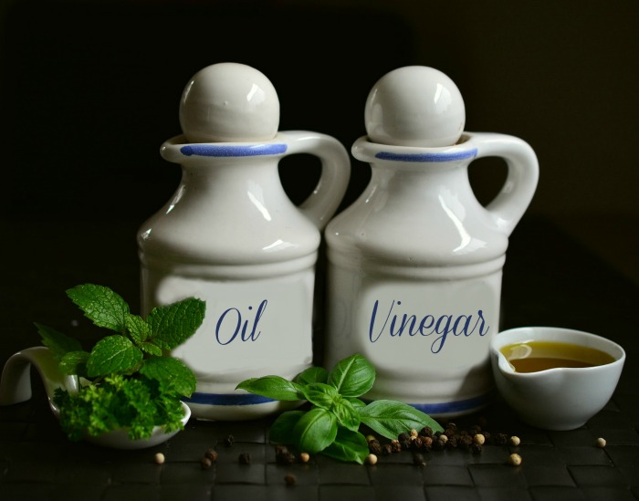 Oil and Vinegar with fresh herbs