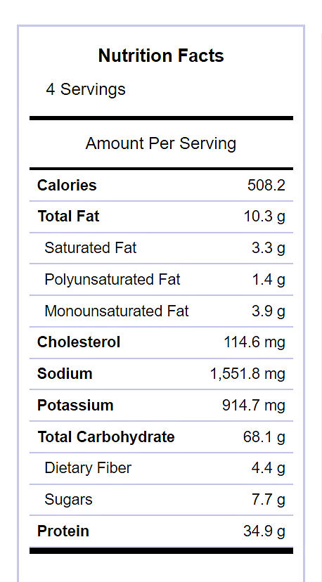Jambalaya nutritional information