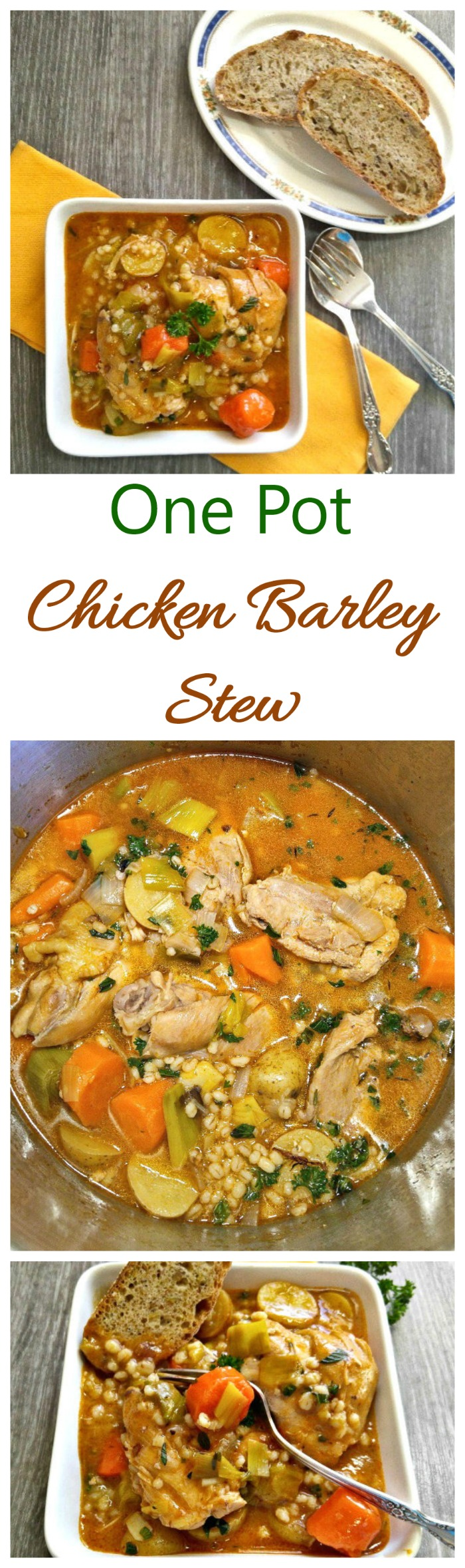 This one pot chicken barley stew is winter comfort food at its best. Serve it with crusty bread for a hearty and filling meal. #wintercomfortfood #chickenbarleystew