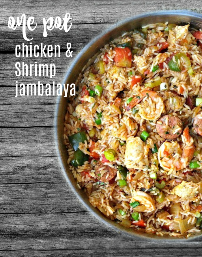 One pot chicken and shrimp jambalaya with sausages is the perfect all in one meal.