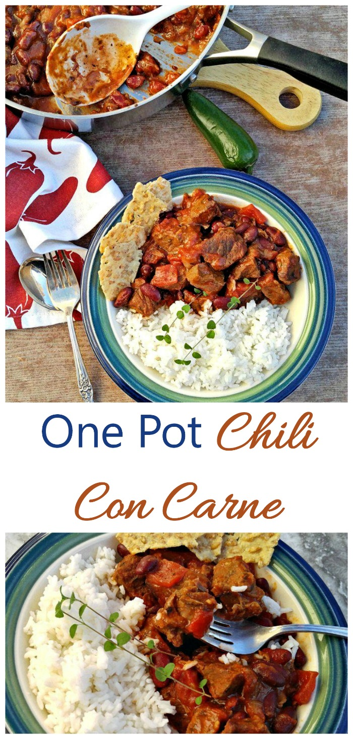 This one pot chili con carne is gluten free and super healthy. Clean up is a breeze with one pot meals. #onepot #chileconcarne