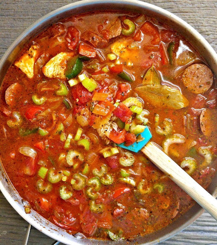 add the rice and celery to the One pot jambalaya