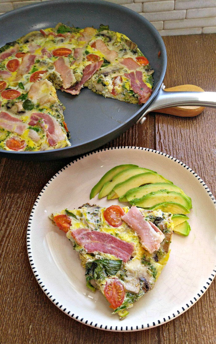 Serving a Whole30 bacon frittata